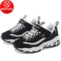 幸运叶子 Skechers斯凯奇男女童鞋冬季新款大童熊猫鞋运动鞋厚底休闲鞋996212L-BKW