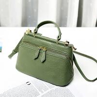 皮女包牛皮包包新款韩版单肩包百搭斜挎小包手提包 绿色 送手拿包