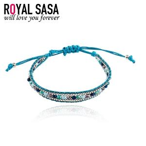 皇家莎莎Royalsasa复古人造水晶编织系列祈愿手链diy手绳个性饰品