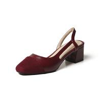 O'SHELL欧希尔夏季上新009-C8-2韩版粗跟高跟女士凉鞋