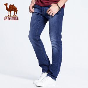 骆驼男装春夏商务休闲修身小直脚长裤男士中低腰牛仔裤