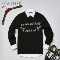太平鸟男装 男士黑色双鸟刺绣圆领套头衫韩版毛线衫毛衣BWEB74118