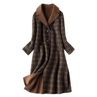 2018秋冬季新款复古格子双面羊绒大衣女中长款英伦风休闲时尚外套 咖啡色