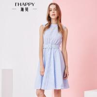 海贝2017夏季新款女装 性感露背立领无袖腰带收腰高腰格子连衣裙