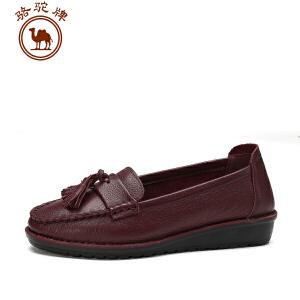骆驼牌 新品女单鞋秋款 女休闲皮鞋舒适耐磨套脚鞋时尚百搭