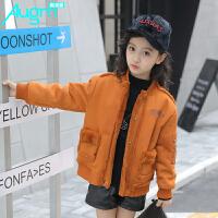 奥戈曼 童装女童冬装加绒加厚外套儿童小学生韩版大衣女孩时尚上衣潮