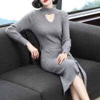 2018秋冬新款女装中长款针织连衣裙修身过膝一步打底毛衣裙包臂裙 浅灰色 均码(建议80-125斤左右)