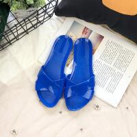 2019新款果冻水晶塑料沙滩凉拖鞋女夏外穿室外半拖鞋韩版时尚平底