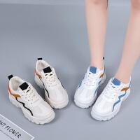 白色网面运动鞋女生单鞋厚底5厘米外增高拼色女鞋春季新款休闲鞋