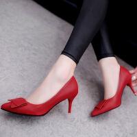 白色高跟鞋细跟女鞋蝴蝶结尖头单鞋韩版春秋红色婚鞋韩版工作皮鞋