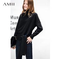Amii极简洋气气质高领落肩袖毛衣女慵懒冬新绑带长袖纯色套头上衣