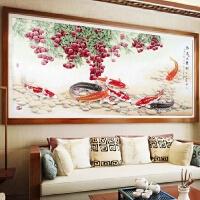 客厅大幅十字绣红荔九鱼图点钻贴砖画钻石画满钻中国风沙发背景画