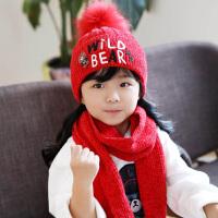 儿童帽子围巾两件套装针织冬季小熊保暖男童女童秋冬中童小童