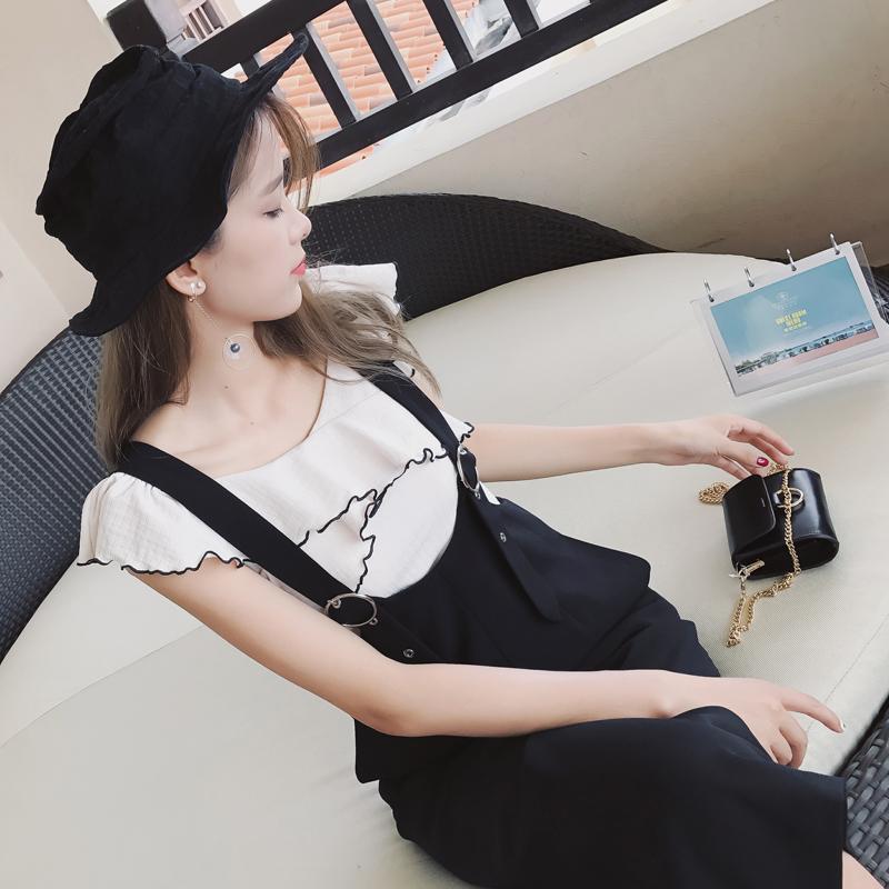 谜秀针织t恤女无袖2017夏季新款韩版修身短款木耳边女针织t恤女修身上衣夏