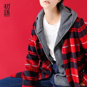 初语2017冬季新款 格子纹长袖中长款呢子大衣 连帽英伦风外套女