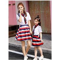 新款潮母女装套装短袖t恤彩虹条纹短裙两件套韩版亲子装夏装可礼品卡支付