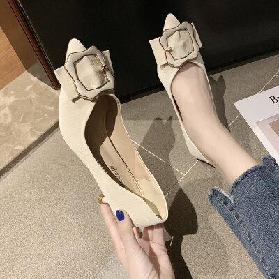 单鞋女2019夏款韩版时尚尖头套脚浅口女鞋细跟高跟鞋女气质工作鞋