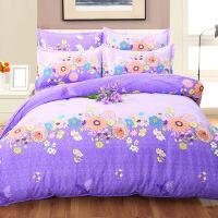 纯棉四件套 磨毛保暖床上用品 单式床上四件套2.0*2.3 被套 200*230 床单 230*230 枕套