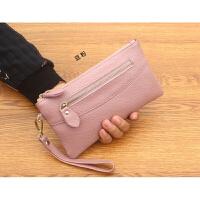 牛皮钱包女长款拉链包韩版甜美手拿包时尚大屏手机包