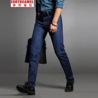 神州骆驼EARTHCAMEL春秋直筒牛仔裤男 男士薄款修身牛仔弹力长裤