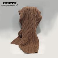 灏领衣尚麻花针织围巾冬季条纹毛线围脖女士冬天纯色套头长款特惠