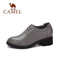 camel/骆驼女鞋 2017秋季新款 英伦风百搭粗跟单鞋女复古系带皮鞋