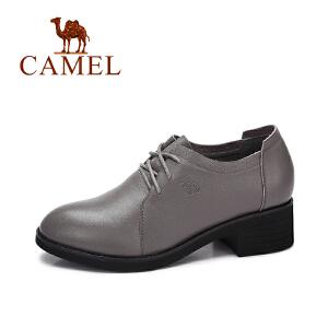 camel/骆驼女鞋秋季新款 英伦风百搭粗跟单鞋女复古系带皮鞋