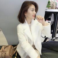 欧洲站冬装女2018新款 欧货潮短款小个子白色轻薄时尚羽绒服外套 米白色