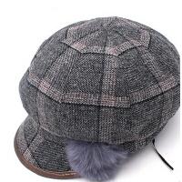 女士鸭舌帽呢子帽贝雷帽妈妈帽 时尚复古风优雅八角画家帽