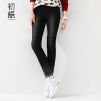 初语摩登黑色牛仔裤女冬新款 修身简约撞色铅笔裤女8541815002