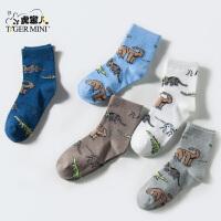 小虎宝儿童装男童棉袜儿童中大童袜子恐龙印花5双一盒2018春款
