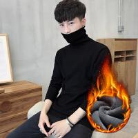男士修身打底衫高领毛衣纯色针织衫长袖韩版冬季加绒加厚线衫男装2018新品 (加绒)