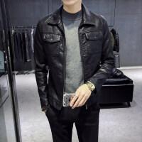 皮衣男士chic修身韩版街头帅气皮夹克个性机车服潮流外套秋季新款 黑色