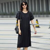 【AMII 超级品牌日】Amii[极简主义]夏装2017新款圆领短袖宽松纯色压褶连衣裙11742748