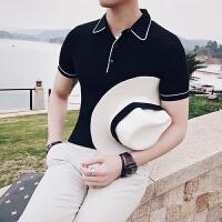 夏款新款英伦风短袖修身T恤韩版修身镶边男士POLO男S码打底衫