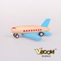 维莱 木制回力小飞机 儿童惯性回力车玩具木质飞机UDEAS出口产品 蓝机翼