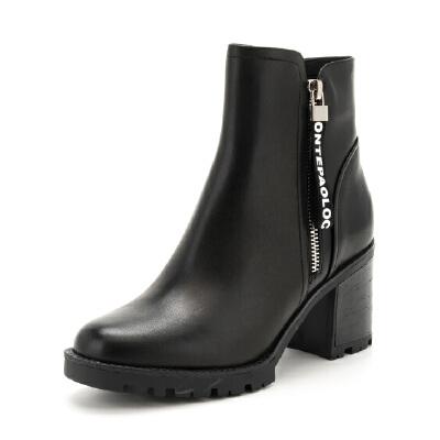 St&Sat/星期六牛皮圆头粗跟短靴女靴子SS74116541
