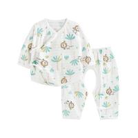 婴儿内衣套装纯棉和尚服新生儿分体睡衣开裆丛林狮子开裆合同套