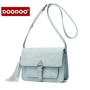 【支持礼品卡】DOODOO 春季女士包包2017新款韩版单肩斜挎小包包简约百搭小方包潮 D6161