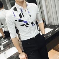 夜店发型师春款个性男女设计男长袖韩版修身男士衬衫潮男免烫