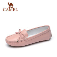 camel 骆驼女鞋2018春新款豆豆鞋女蝴蝶结平底单鞋驾车鞋