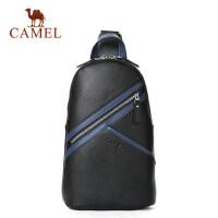 Camel骆驼男包男士 胸包时尚简约牛皮单肩斜挎包青年韩版背包