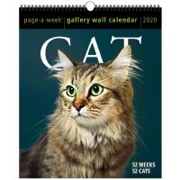 英文原版 2020年画廊周历:猫 进口日历 精美挂历 新年礼物 Cat Page-A-Week Gallery Wal