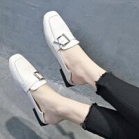 半拖鞋女单鞋外穿2019新款韩版时尚方头穆勒鞋平底包头懒人凉拖 米 白色