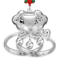 宝宝银手镯990足银长命锁婴儿银饰儿童银锁满月套装礼盒
