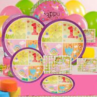 孩派 儿童生日聚会用品生日用品 宝宝生日派对 一岁紫花主题系列