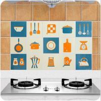 卡通厨房灶台瓷砖防油贴纸耐高温防水自粘贴家用橱柜油烟墙贴