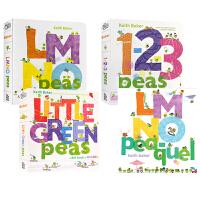 进口英文原版3册1-2-3 Peas 1,2,3数豆豆/LMNO Peas 数学/字母单词启蒙纸板书 亲子共读趣味读物