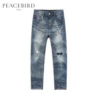 【2.5折到手价:119元,双十二狂欢】太平鸟男装 夏季新款潮流撞色破洞牛仔裤B2HA72360