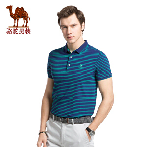 骆驼男装 夏季新款翻领休闲POLO衫条纹男青年上衣短袖T恤衫